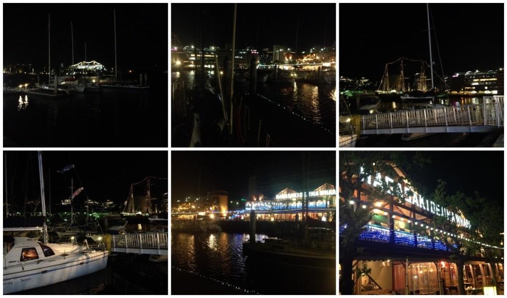 Nagasaki Dejima Wharf lit up at night