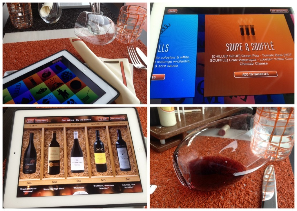 Order from an iPad which has the menu and wine list and the wine glasses lay