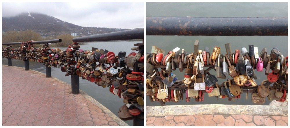 Padlocks locked to the railing around the waterfront in Petropovlovsk