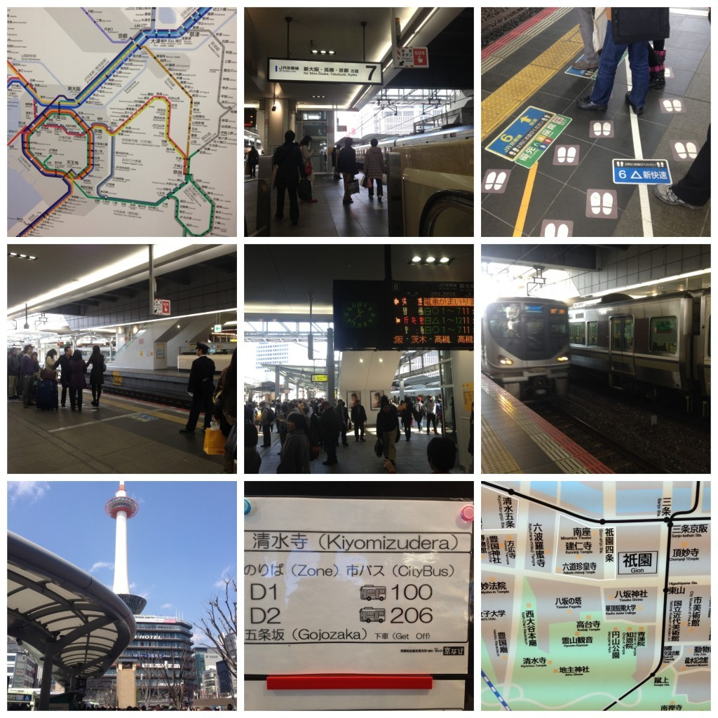 Images from the Osaka subway and the bus stop in Kyoto