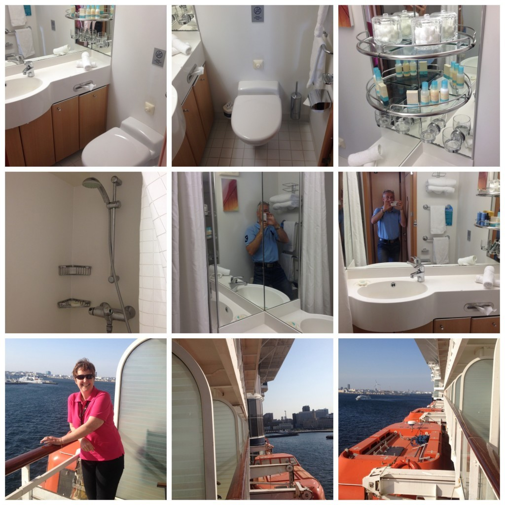 The bathroom and balcony of stateroom 6093 on Celebrity Millennium