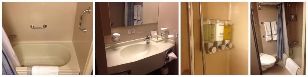 The bathroom with a bath / shower
