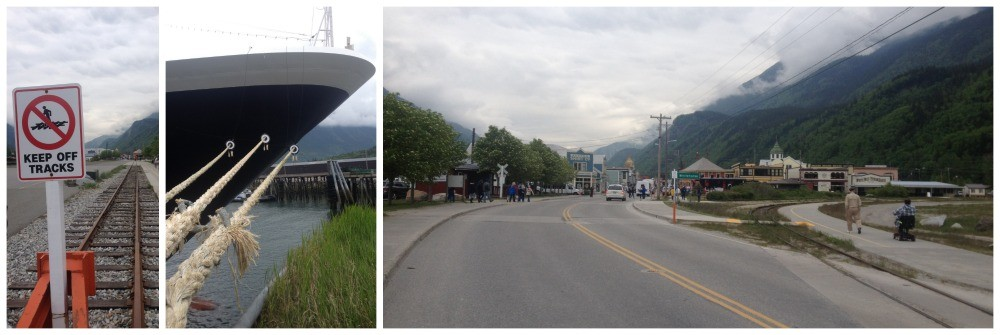 The cruise ships dock in Skagway very close to the railway line