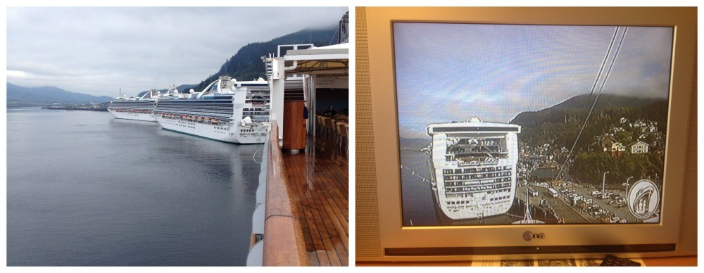 The other cruise ships docked in front of MS Oosterdam in Ketchikan