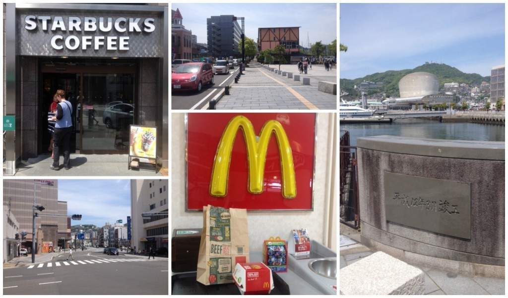 We grab a coffee from the S shop and I have a McD's