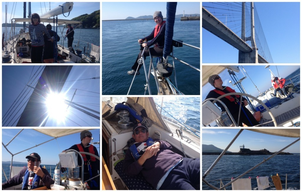 leaving Yobuko in calm waters, Moni at the front, and then at the helm