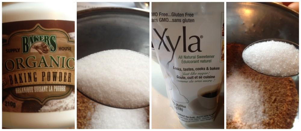 Add the baking powder, salt & sweetener
