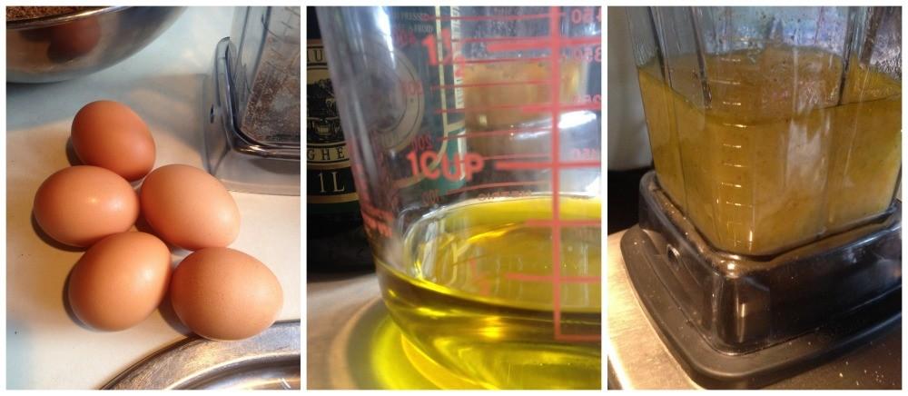 Blend the eggs & oil