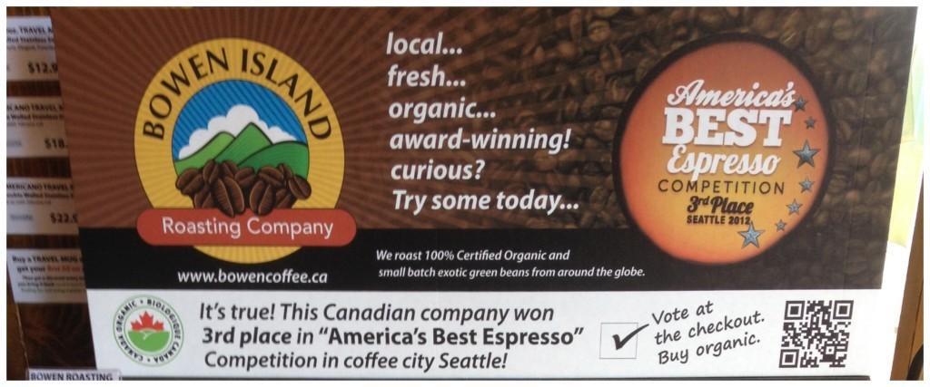 Bowen Island coffee