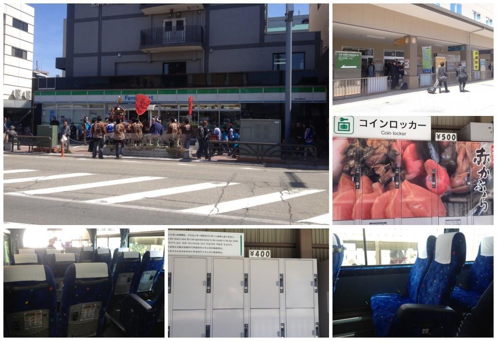 Bus station in Takayama has good size lockers