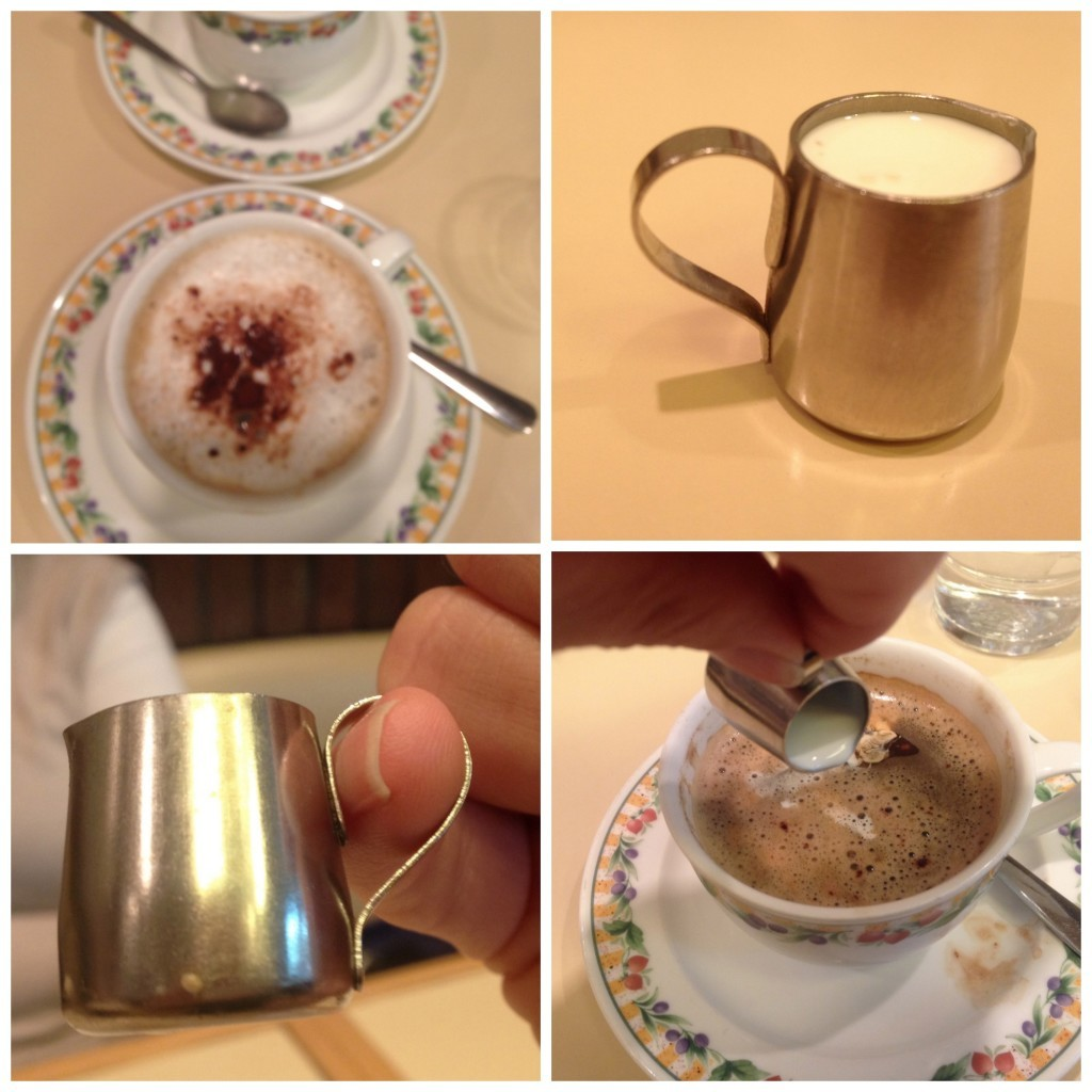 Coffee in Hirano with a thimble full of milk
