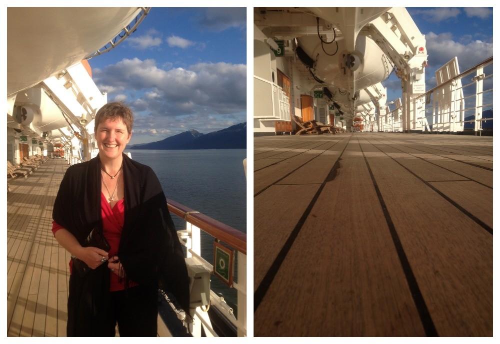 Enjoying a stroll around deck