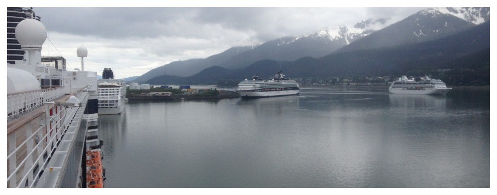 Four cruise ships in Juneau Alaska
