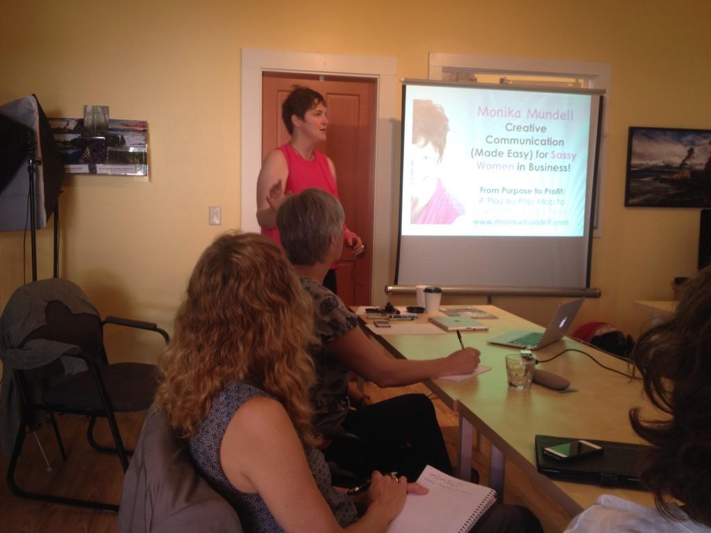 Guest speaker Monika at the Bowen Island Women in Business meeting
