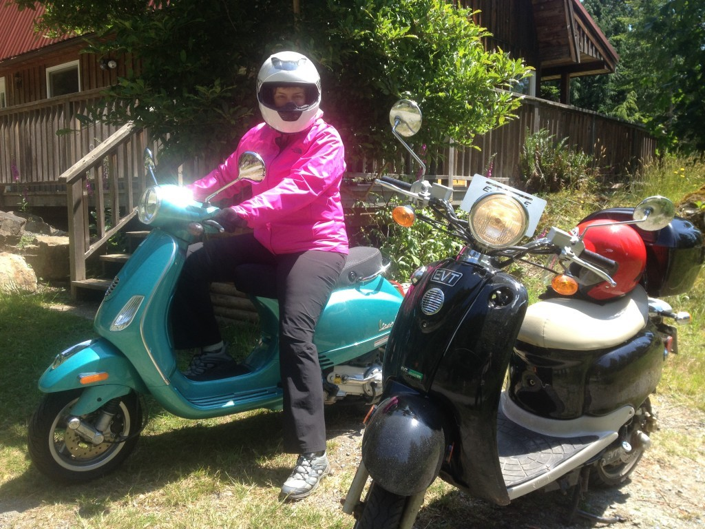 Moni ready to race off on the scooter in to Snug Cove on Bowen Island