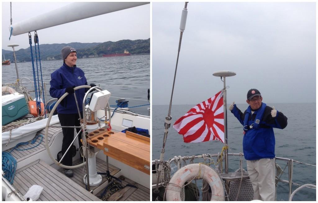 Moni takes the helm while Captain raises the Japanese war flag