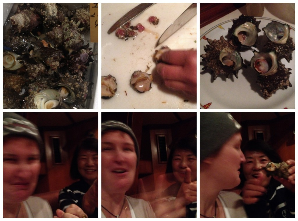 Next up was the 'Turban Shell' this time eaten raw ... I think Moni's expression say's it all