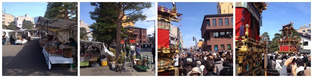 The markets is quiet as the crowds gather to watch the Karakuri performance