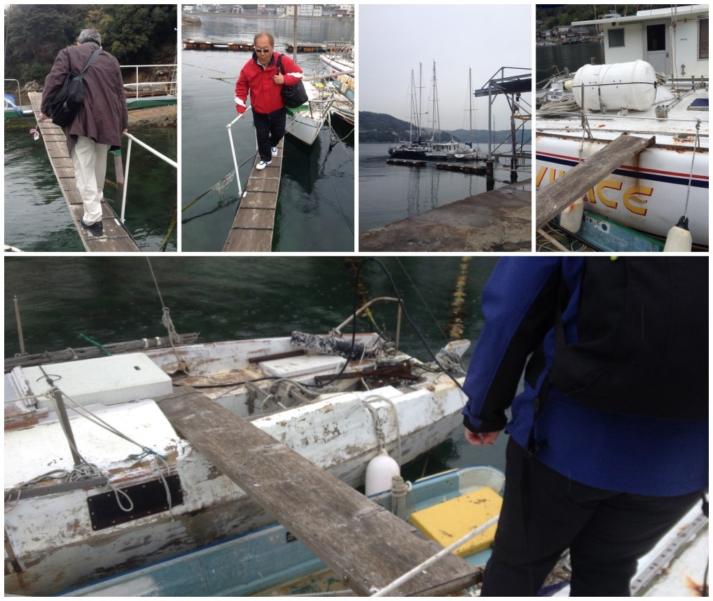 Getting off the yacht via the wooden planks