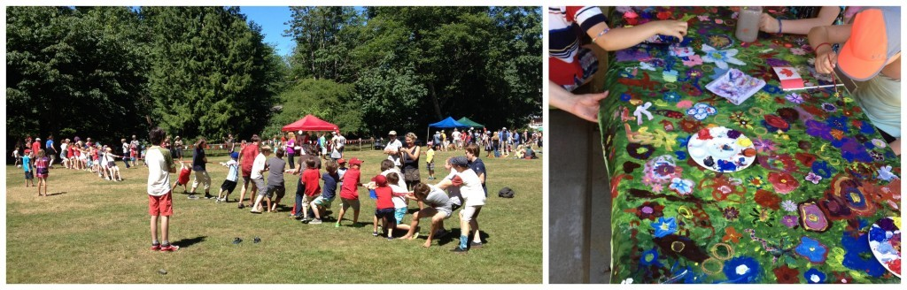 Canada day events, tug-o-war, community painting etc