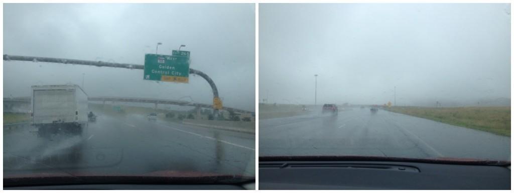 Heavy rain on the drive back to Keystone