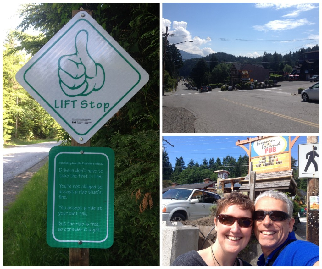 Hitchhiking, thumbing for a lift on Bowen Island