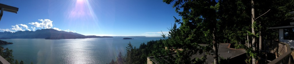 Panorama from the top of Bowen Island Chanel View road