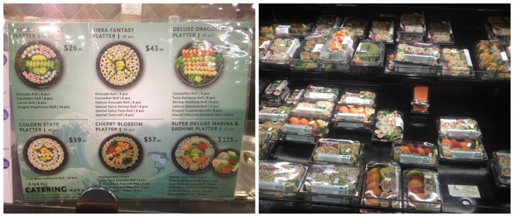 Sushi platters are at Whole Foods