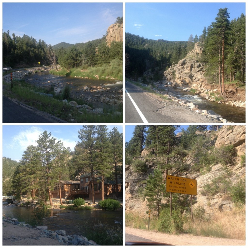 The Big Thomson river meanders alongside the road as we make our way into Estes Park