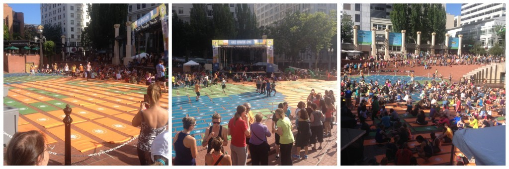 The Pioneer Courthouse Square filling up