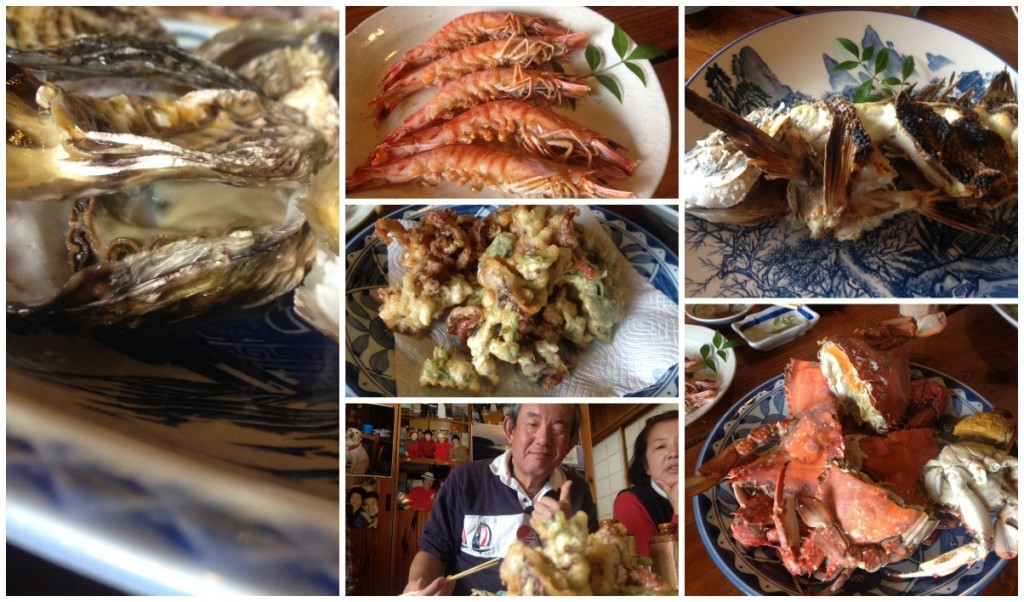 The octopus makes a return but this time batterd along with crab, whole baked fish and oysters with the odd prawn