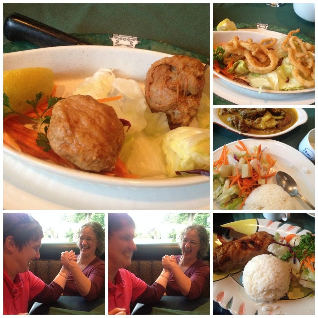 Vietnamese dinner, arm wrestling ladies