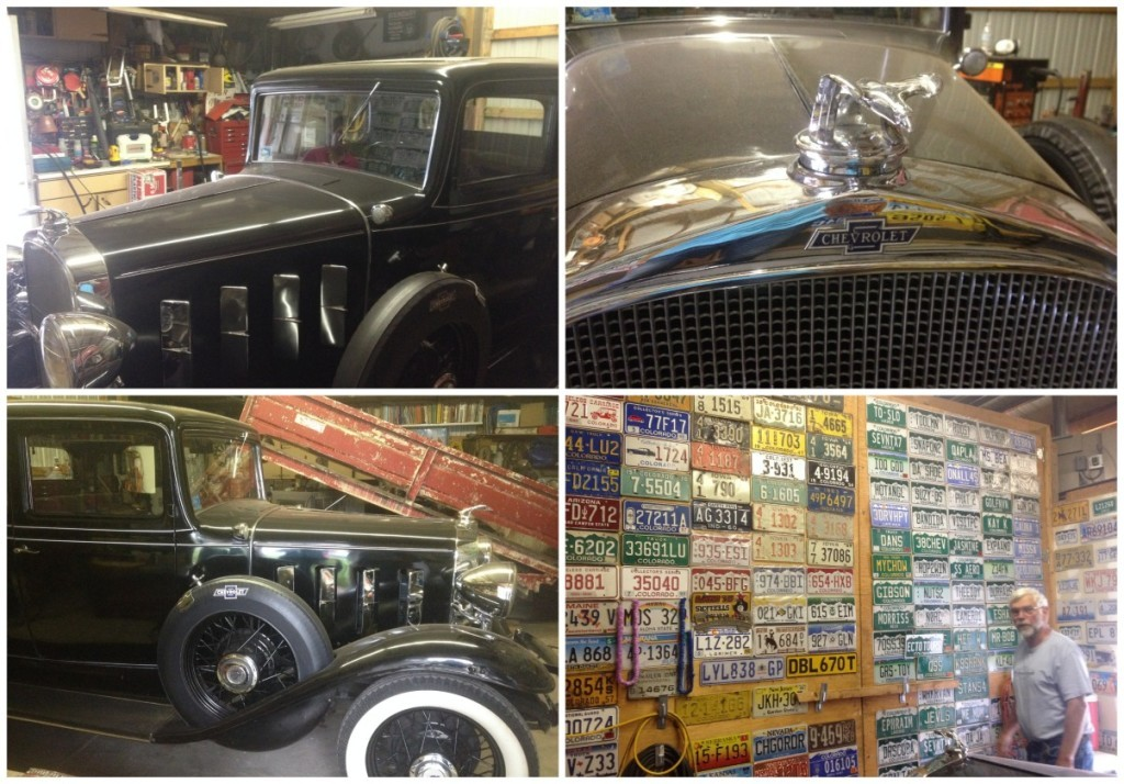 Vintage Chevrolet and walls full of number plates