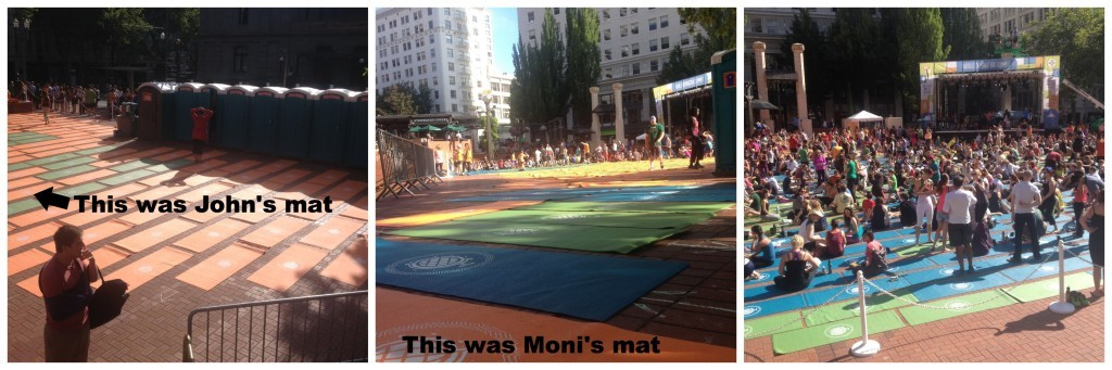 You can just see our mat's before the crowd set in