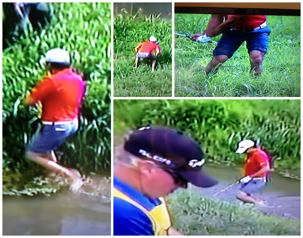 Jason Day crossing the river playing with no shoes in shorts