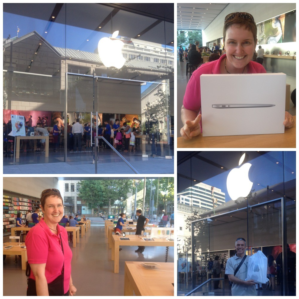John getting his new Macbook Air from the Apple store in Portland