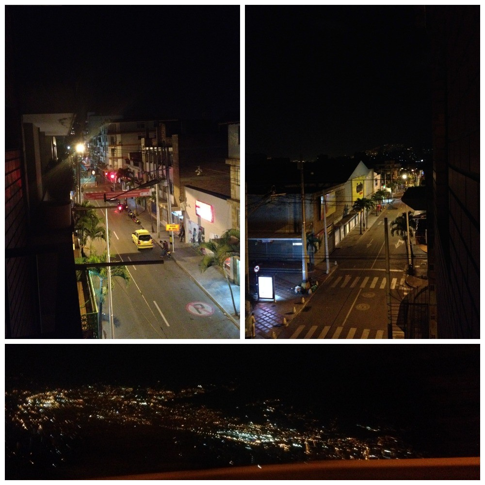 The view from our balcony to the street below and the lights of Medellin
