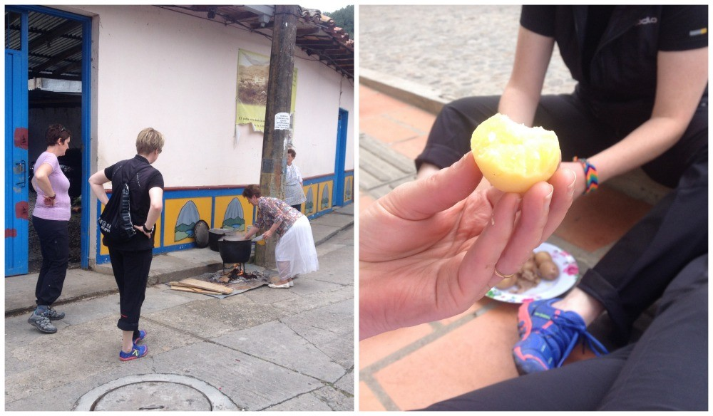 Eating potatoes (papas) on the street in Guatape