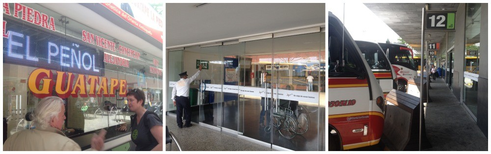 Getting bus tickets from the Guatape window