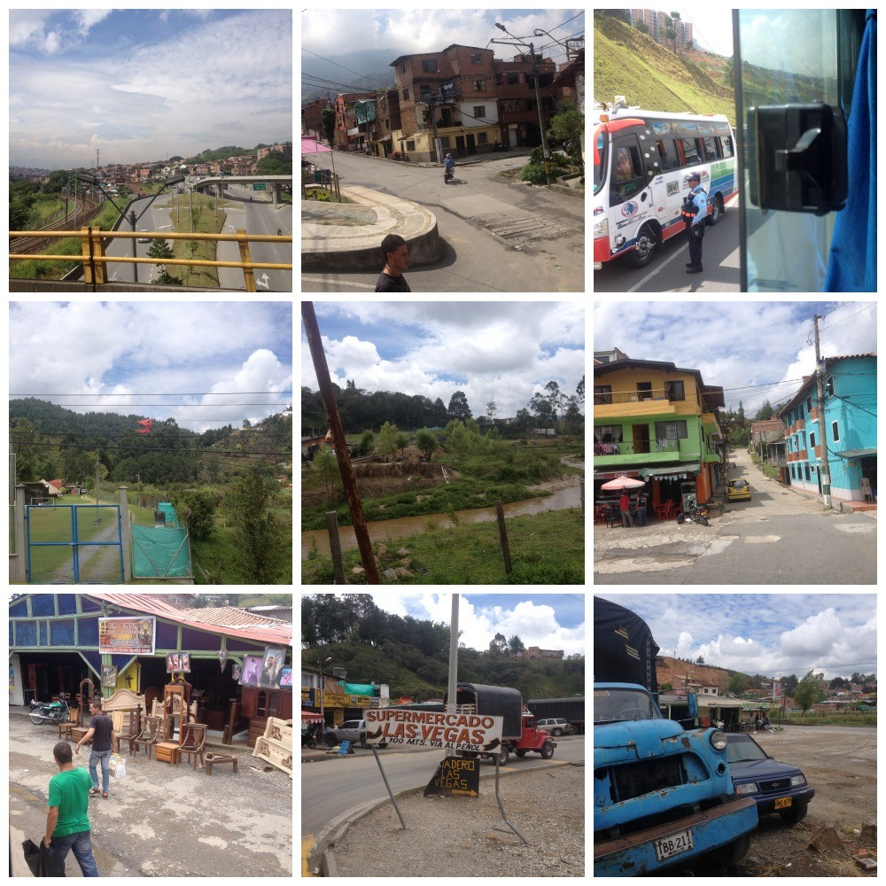 Images from the bus journey leaving Medellin