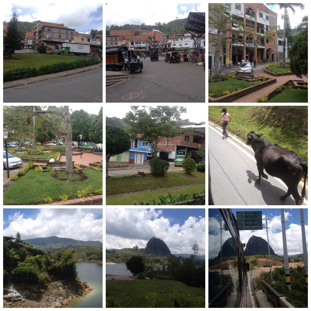 Images from the bus trip to Guatape with the first glimpse of El Penol
