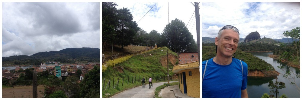 Looking down to Guatape pueblo, and views to El Penol