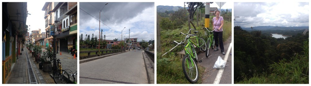 Our bike ride in Guatape, cobbled streets, the bridge out of town, the view at the top of a hill