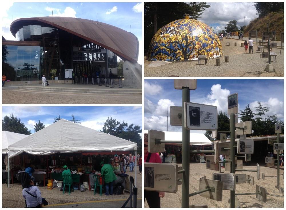 Park Arvi station, market stalls, information plaques