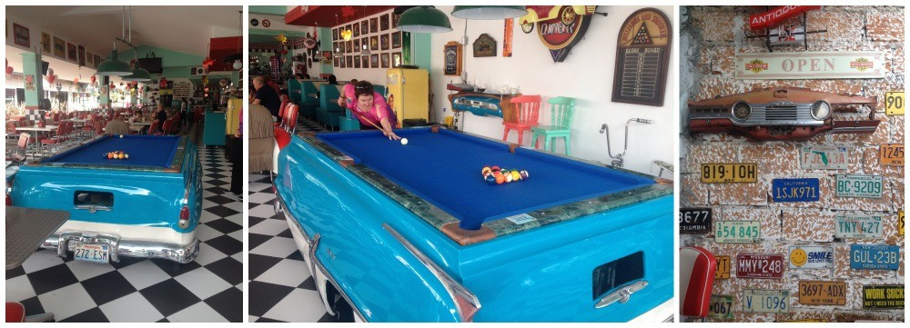 Playing pool in the classic diner