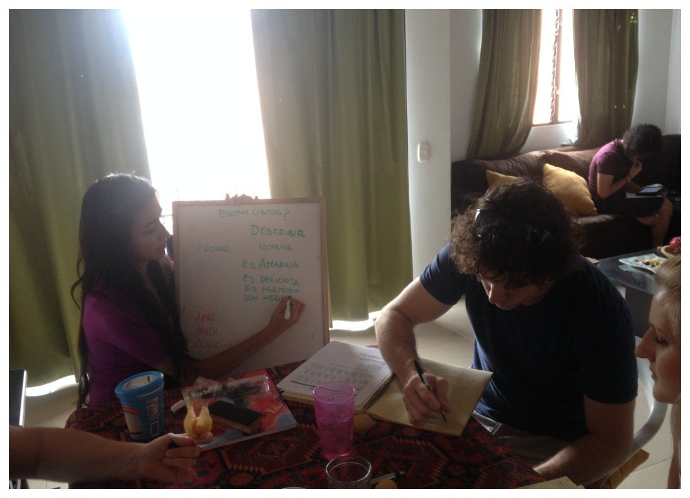 Spanish lessons at our apartment in Envigado