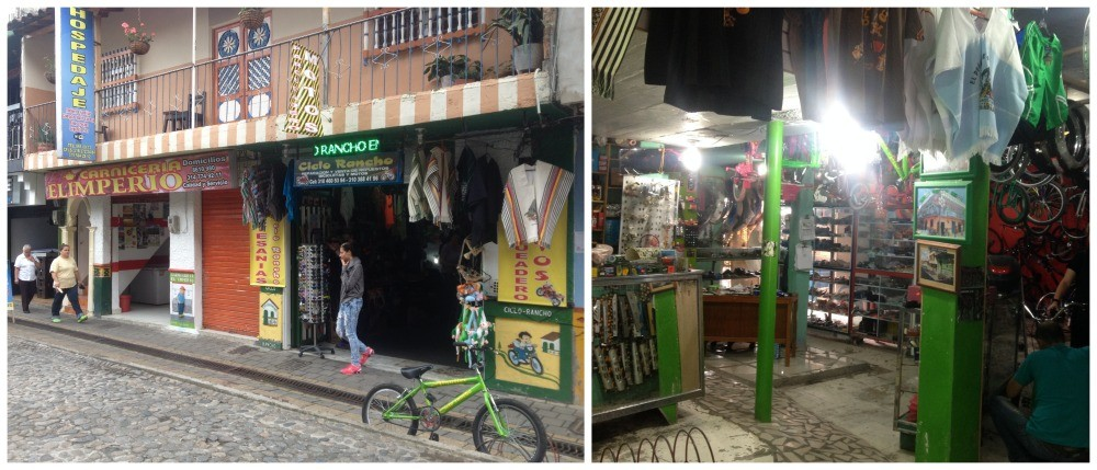 The bike shop next to the butcher in Guatape