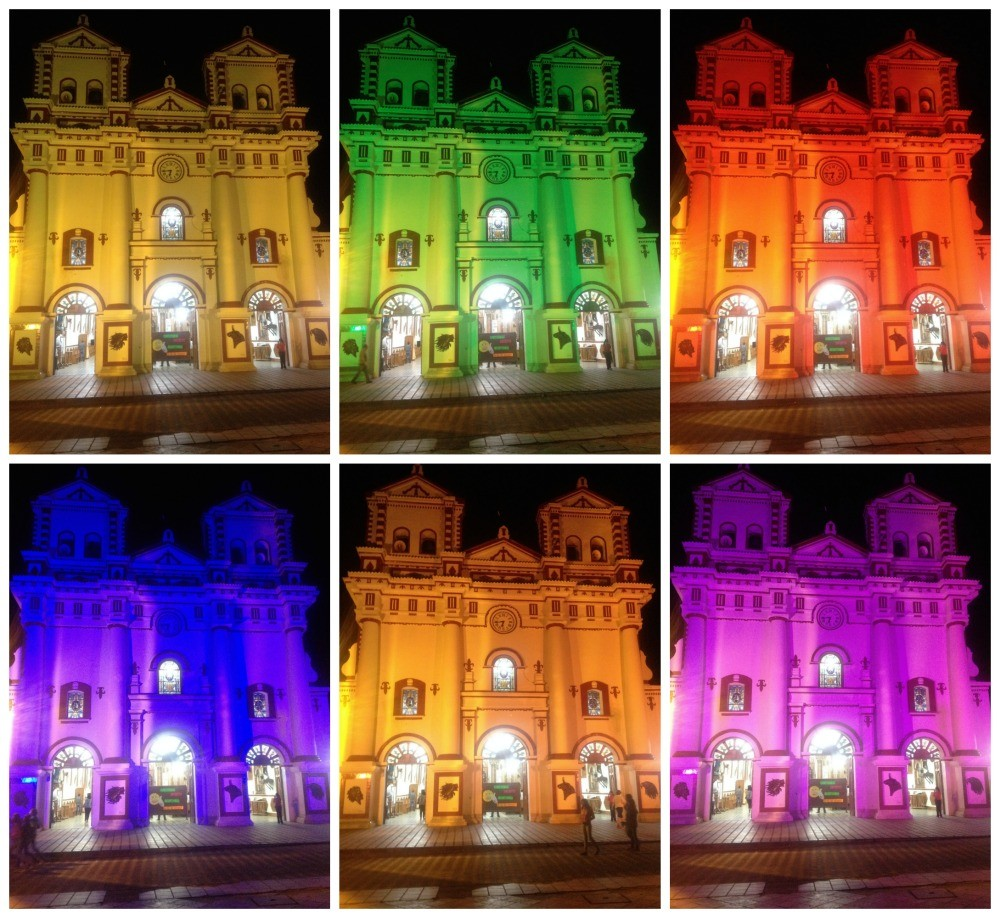 The colourful church of Guatape at night