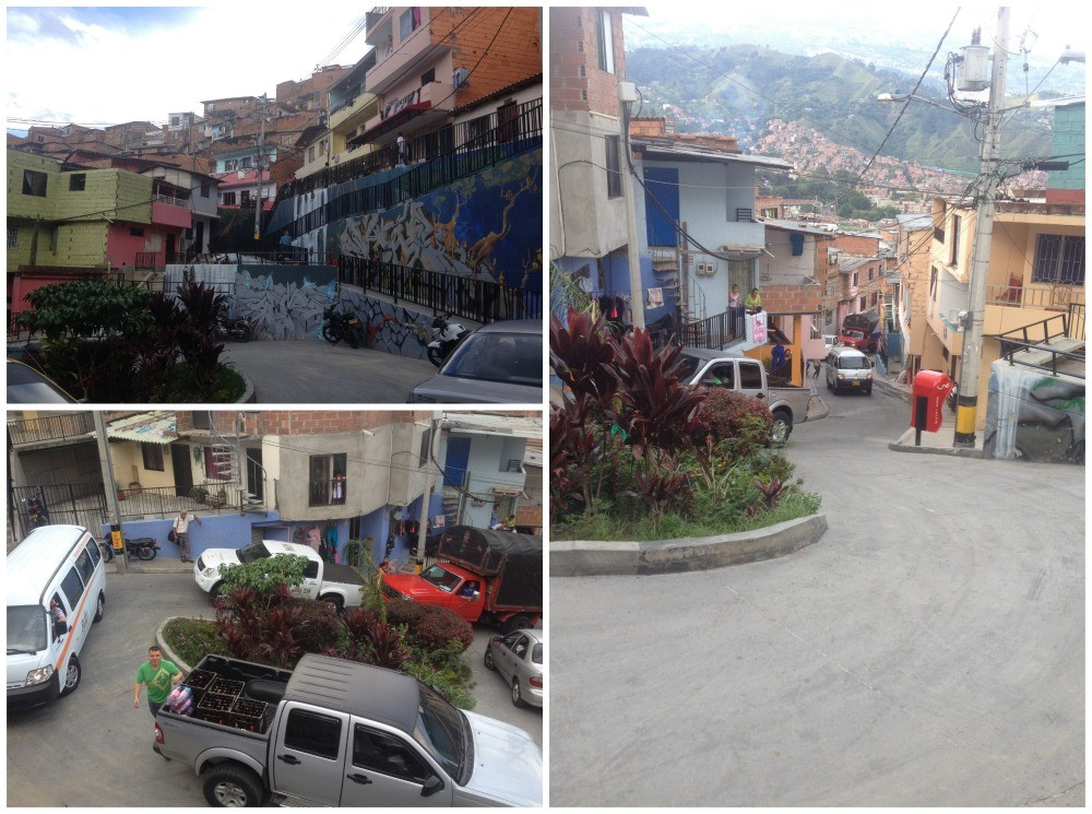This is the small roundabout where you get out of the taxi to get to the Escaleras Electricas in Medellin