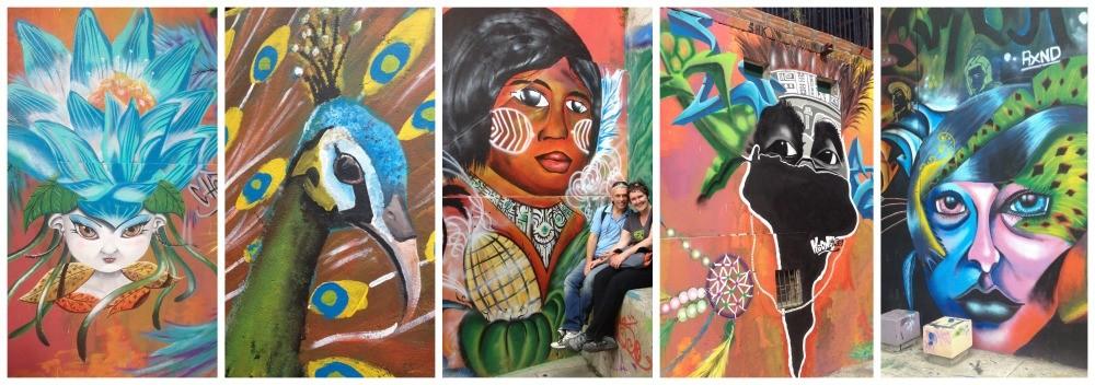 Wall art at the Escaleras Electricas in Medellin